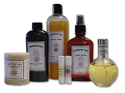 A selection of skin and personal care products handmade by Kinderhaven Farm.